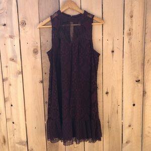 Lace Mock Neck Tunic Dress